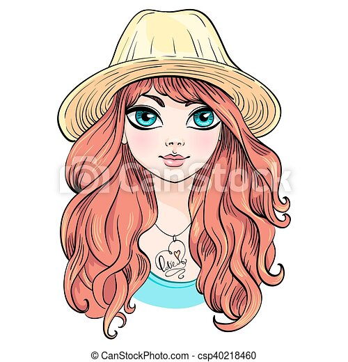Vector beautiful fashion girl in hat - csp40218460