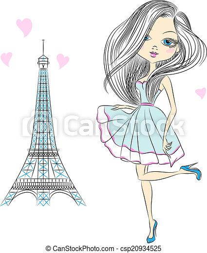 Vector beautiful fashion girl in Paris - csp20934525