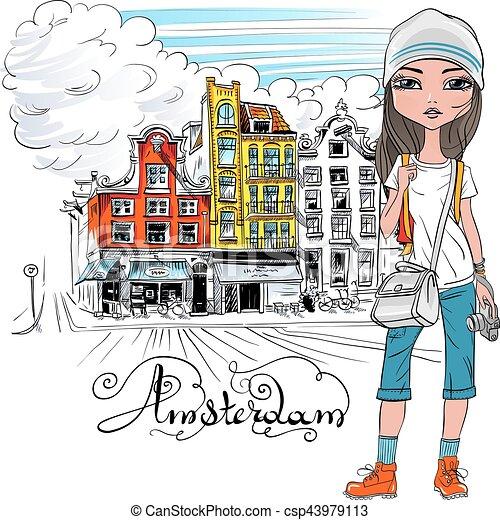 Vector beautiful fashion girl in Amsterdam - csp43979113
