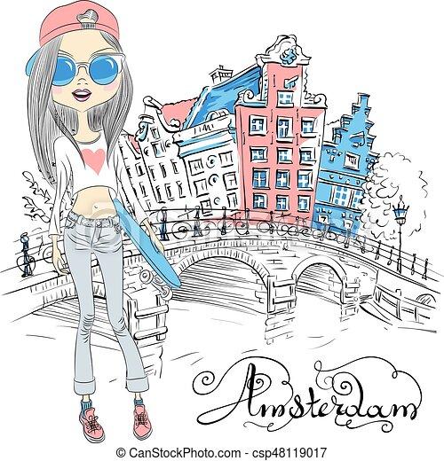 Vector beautiful fashion girl in Amsterdam - csp48119017