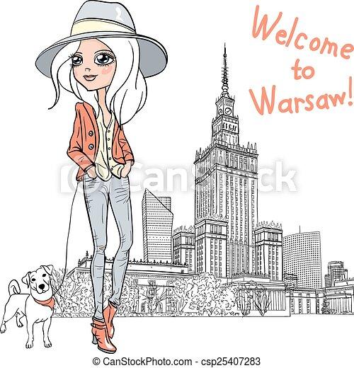 Vector beautiful fashion girl in Warsaw - csp25407283