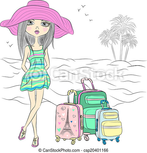 Vector beautiful fashion girl on sea beach - csp20401166