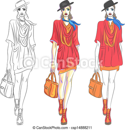 Vector beautiful fashion girl top model in hat and with bag - csp14888211