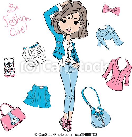 Vector beautiful fashion girl top models  - csp29666703