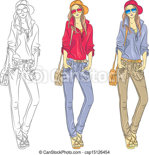 Vector beautiful fashion girls top models with glasses - csp15126454