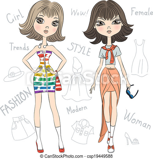 Vector beautiful fashion girls top models  - csp19449588