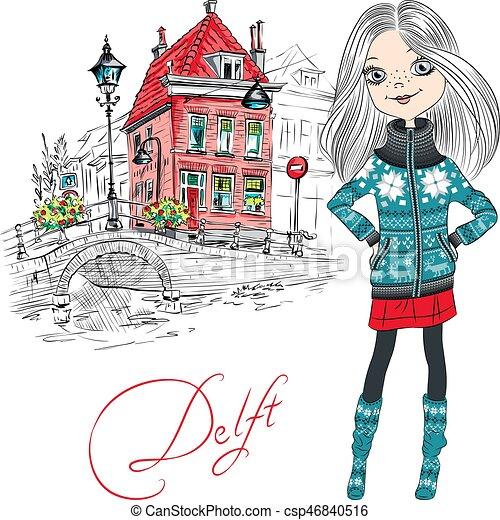 Vector beautiful girl in Delft, Netherlands. - csp46840516