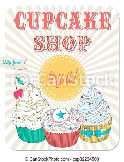 Vector retro cupcakes Clip Art | k6201417 | Fotosearch