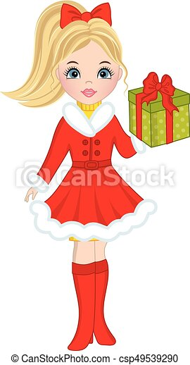 Vector Beautiful Young  with Christmas Gift - csp49539290