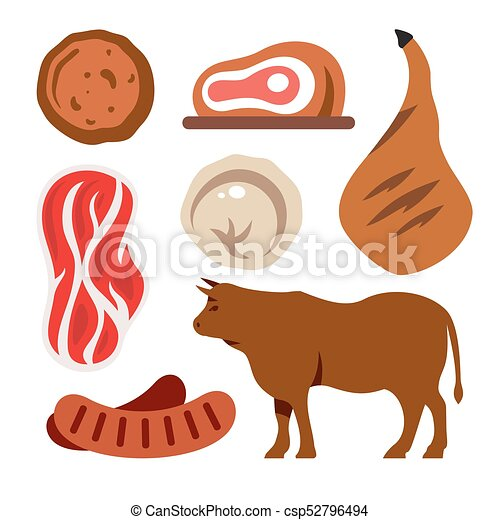 vector beef flat style colorful cartoon illustration cutlet meat tenderloin ravioli ham sausage bull isolated on a https www canstockphoto com vector beef flat style colorful cartoon 52796494 html