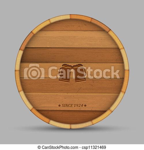 Vector beer label in form wooden barrel - csp11321469