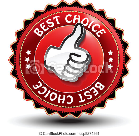 Vector best choice guaranteed label with gesture hand - csp8274861
