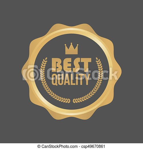 Vector Best Quality Gold Sign, Round Label - csp49670861