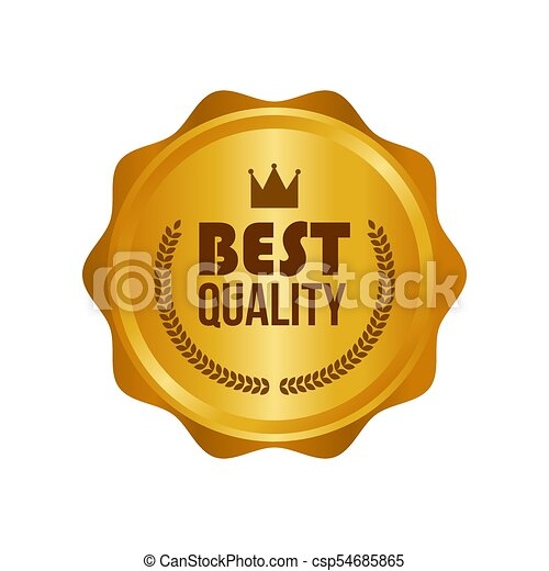 Vector Best Quality Gold Sign, Round Label - csp54685865