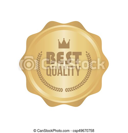 Vector Best Quality Gold Sign, Round Label - csp49670758