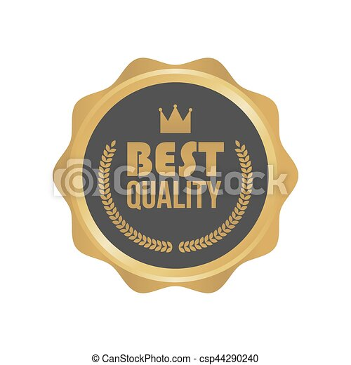 Vector Best Quality Gold Sign, Round Label - csp44290240