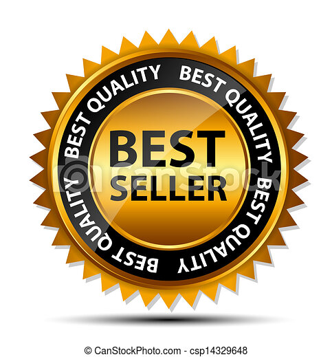 Vector best seller gold sign, label template - csp14329648