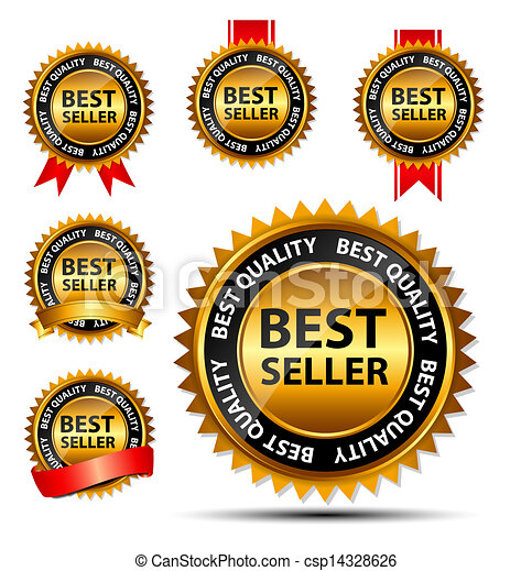 Vector best seller gold sign, label template - csp14328626