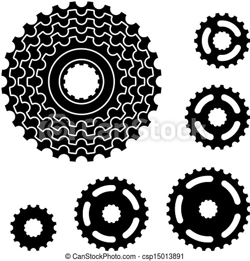 vector bicycle gear cogwheel sprocket symbols - csp15013891