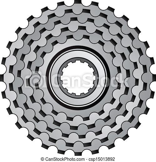 vector bicycle gear cogwheel sprocket icon - csp15013892