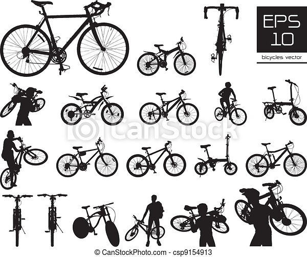 vector bicycle silhouette set - csp9154913