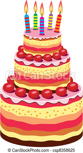 Cool Vector Big Birthday Cake With Burning Candles And Fruits Personalised Birthday Cards Veneteletsinfo
