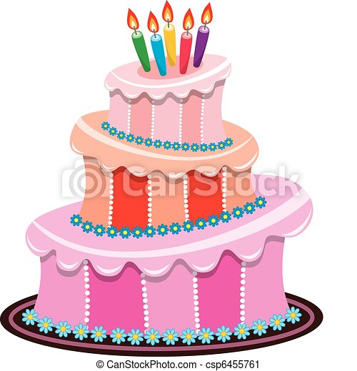 vector big birthday cake with burning candles - csp6455761