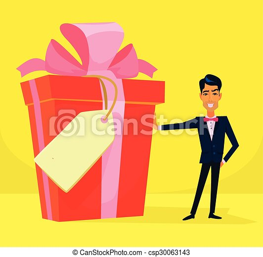 vector big gift box flat illustration eps vector search clip art