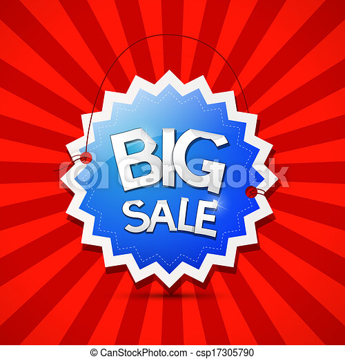 Vector Big Sale Icon - Blue Label on Red Background  - csp17305790