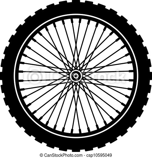 vector bike wheel black silhouette - csp10595049