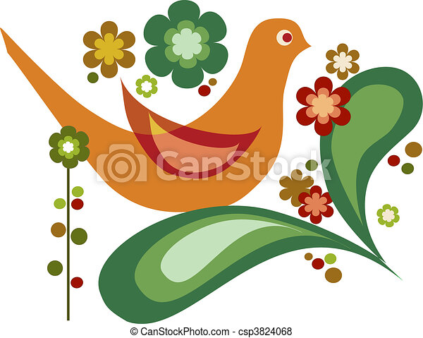 vector bird and flowers for greeting card - csp3824068