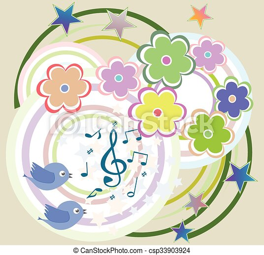 vector birds in love, singing on abstract floral background - csp33903924