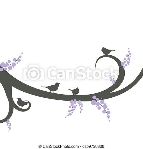 Vector birds on a decorative branch - csp9730388