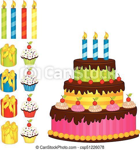 Amazing Vector Birthday Cake Candles Cupcakes And T Boxes Vector Funny Birthday Cards Online Elaedamsfinfo