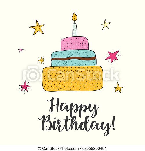 Pleasing Vector Birthday Cake Cartoon Illustration Cute Greeting Happy Funny Birthday Cards Online Hendilapandamsfinfo