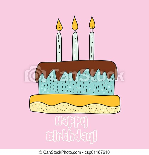 Vector Birthday Cake Cartoon Illustration Cute Greeting Happy Card With Three Candles
