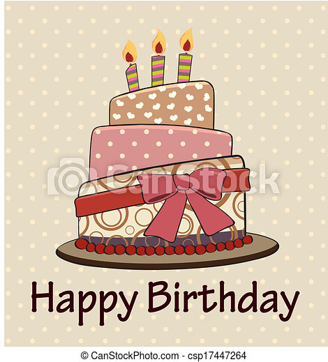 Clip Art Vector of Vector birthday cake vintage style csp17447264