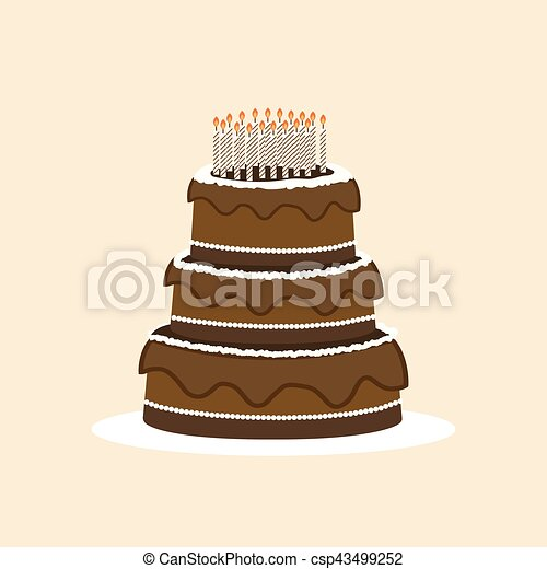 Wondrous Vector Birthday Cake With Colorful With Lit Candles On A Plate Funny Birthday Cards Online Elaedamsfinfo