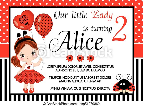 Vector Birthday Card Template with Cute Little - csp51979862