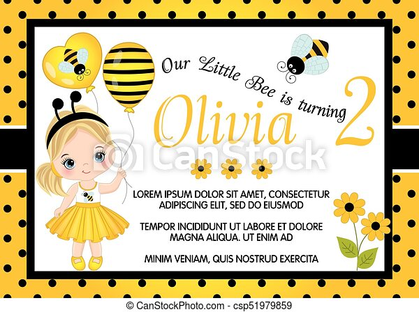 Vector Birthday Card Template with Cute Little - csp51979859