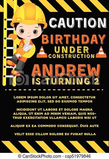 Vector Birthday Card Template With Cute Little Boy Vector Card