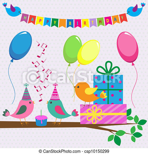 Vector birthday card with cute birds - csp10150299