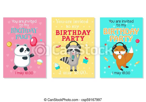 Vector Birthday Invitation Cards With Cute Animals