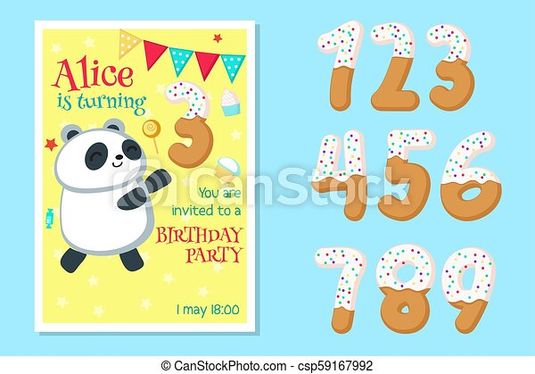 Vector Birthday Invitation With Panda And Numbers
