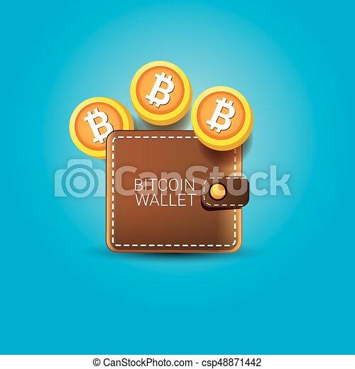 Vector bitcoin wallet icon with coins vector brown bitcoin eps vector bitcoin wallet icon with coins ccuart Choice Image
