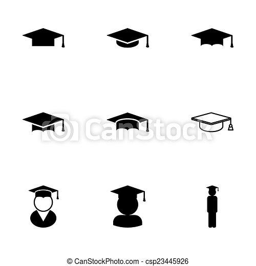 Vector black academic cap icon set - csp23445926