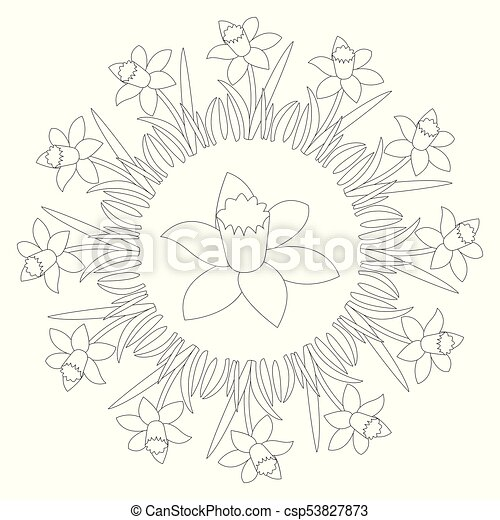 Vector Black And White Circular Round Spring Mandala With Flower Daffodil
