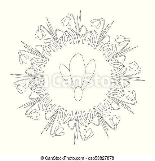 Vector Black And White Circular Round Spring Mandala With Flower Snowdrop
