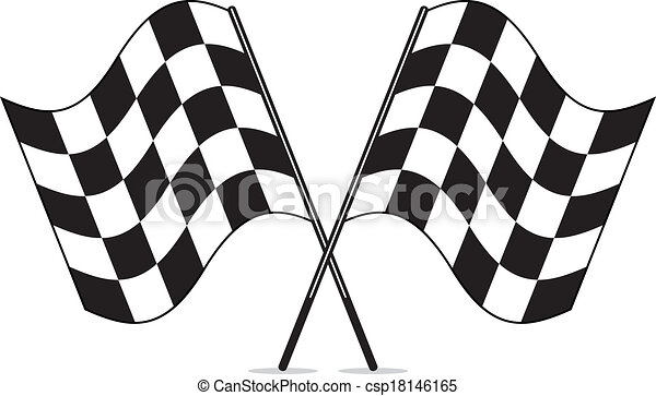 vector black and white crossed racing checkered flags clipart - csp18146165