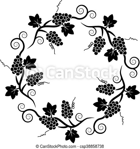 vector black and white decoration pattern of grape vine. | canstock  can stock photo